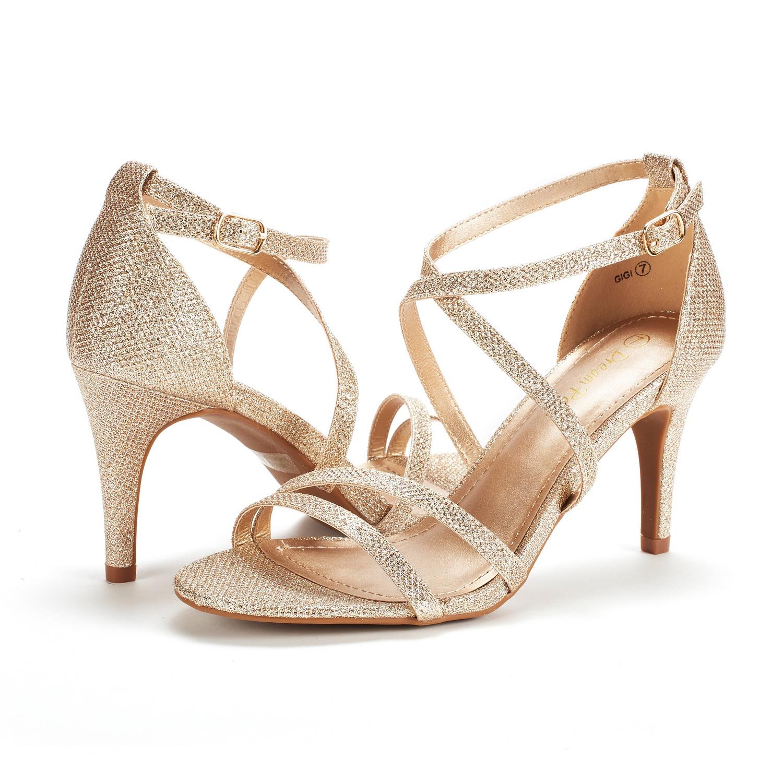 thumbnail 41 - Women's Open Toe Cross Strappy Sandals Heels Ankle Strap Wedding  Dress Shoes US