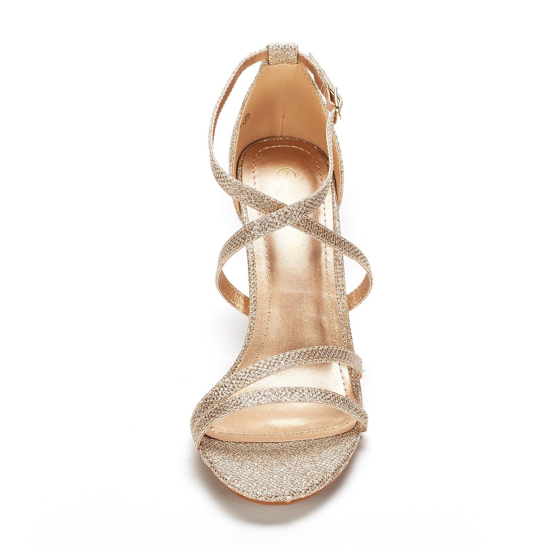 thumbnail 39 - Women's Open Toe Cross Strappy Sandals Heels Ankle Strap Wedding  Dress Shoes US