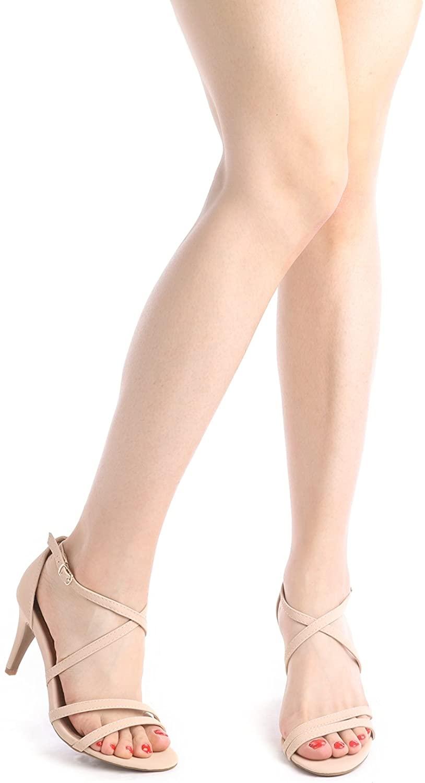 thumbnail 37 - Women's Open Toe Cross Strappy Sandals Heels Ankle Strap Wedding  Dress Shoes US