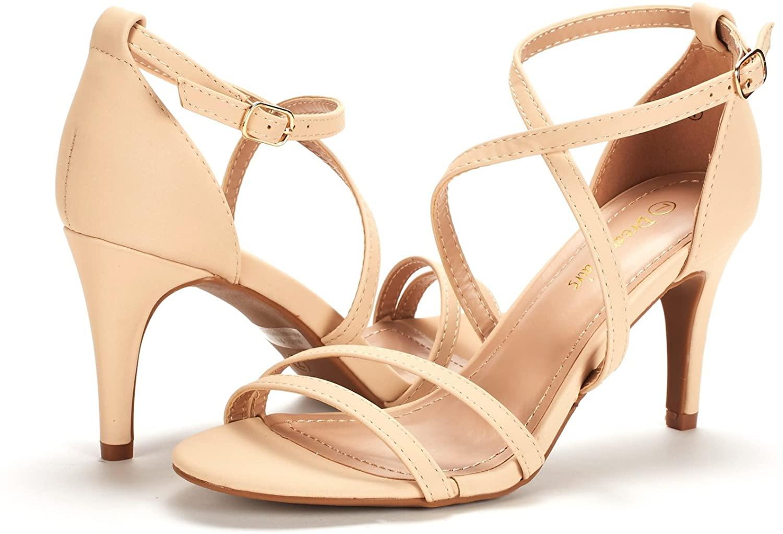 thumbnail 35 - Women's Open Toe Cross Strappy Sandals Heels Ankle Strap Wedding  Dress Shoes US