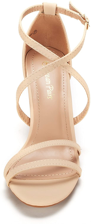 thumbnail 33 - Women's Open Toe Cross Strappy Sandals Heels Ankle Strap Wedding  Dress Shoes US
