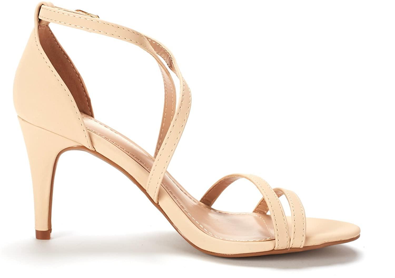 thumbnail 34 - Women's Open Toe Cross Strappy Sandals Heels Ankle Strap Wedding  Dress Shoes US