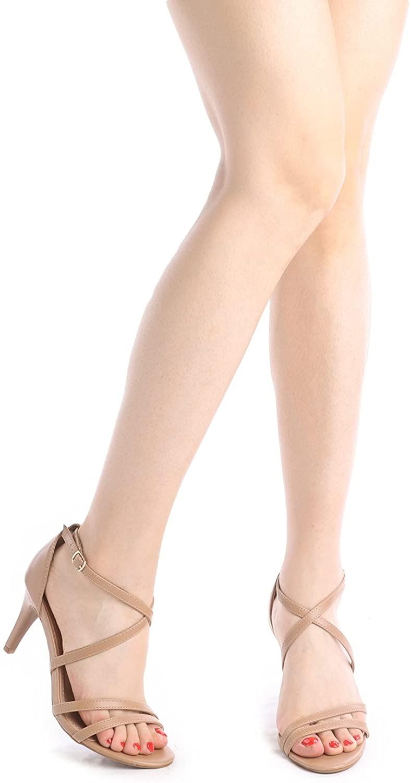thumbnail 31 - Women's Open Toe Cross Strappy Sandals Heels Ankle Strap Wedding  Dress Shoes US
