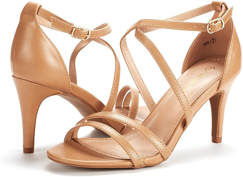 thumbnail 29 - Women's Open Toe Cross Strappy Sandals Heels Ankle Strap Wedding  Dress Shoes US