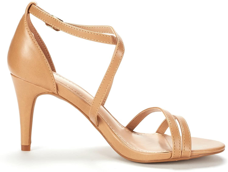 thumbnail 28 - Women's Open Toe Cross Strappy Sandals Heels Ankle Strap Wedding  Dress Shoes US