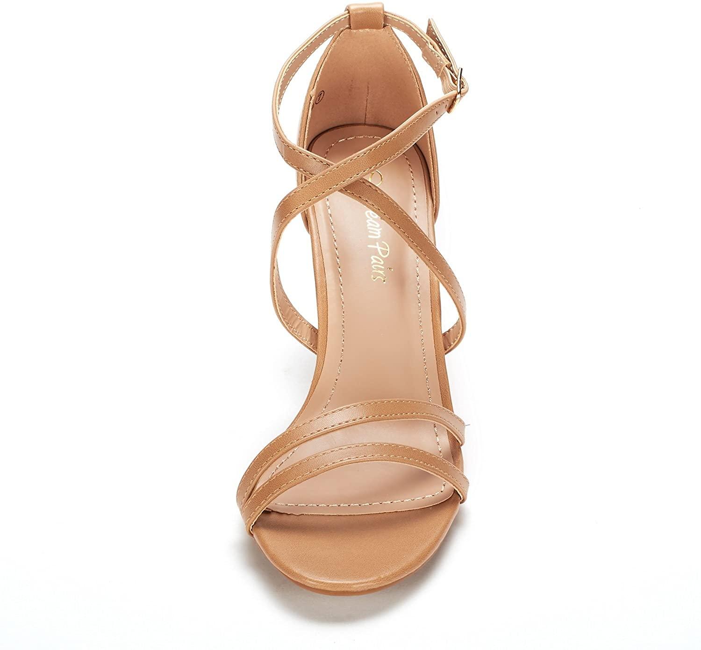 thumbnail 27 - Women's Open Toe Cross Strappy Sandals Heels Ankle Strap Wedding  Dress Shoes US