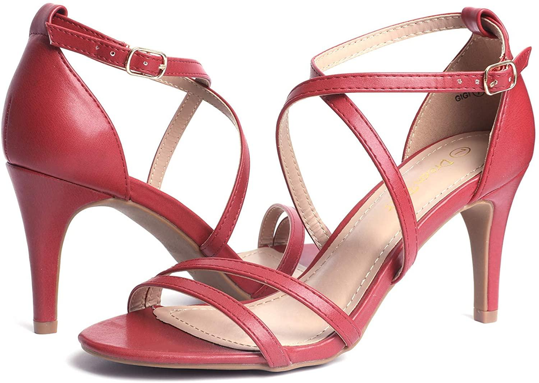 thumbnail 23 - Women's Open Toe Cross Strappy Sandals Heels Ankle Strap Wedding  Dress Shoes US