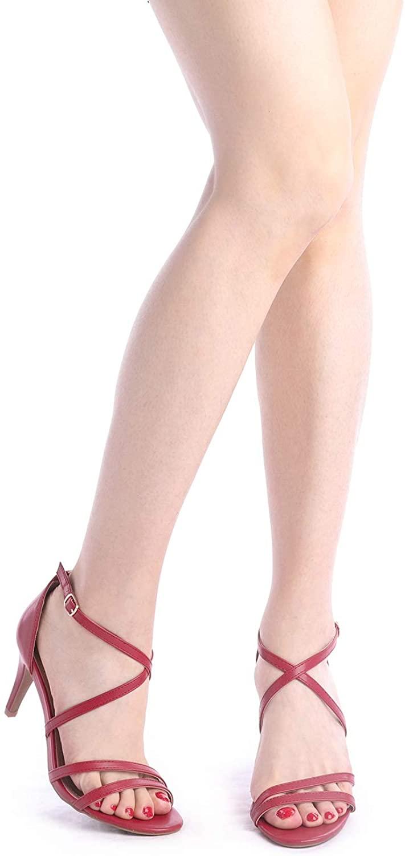 thumbnail 25 - Women's Open Toe Cross Strappy Sandals Heels Ankle Strap Wedding  Dress Shoes US