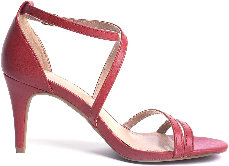 thumbnail 22 - Women's Open Toe Cross Strappy Sandals Heels Ankle Strap Wedding  Dress Shoes US