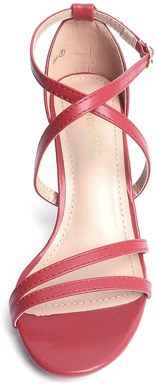 thumbnail 21 - Women's Open Toe Cross Strappy Sandals Heels Ankle Strap Wedding  Dress Shoes US