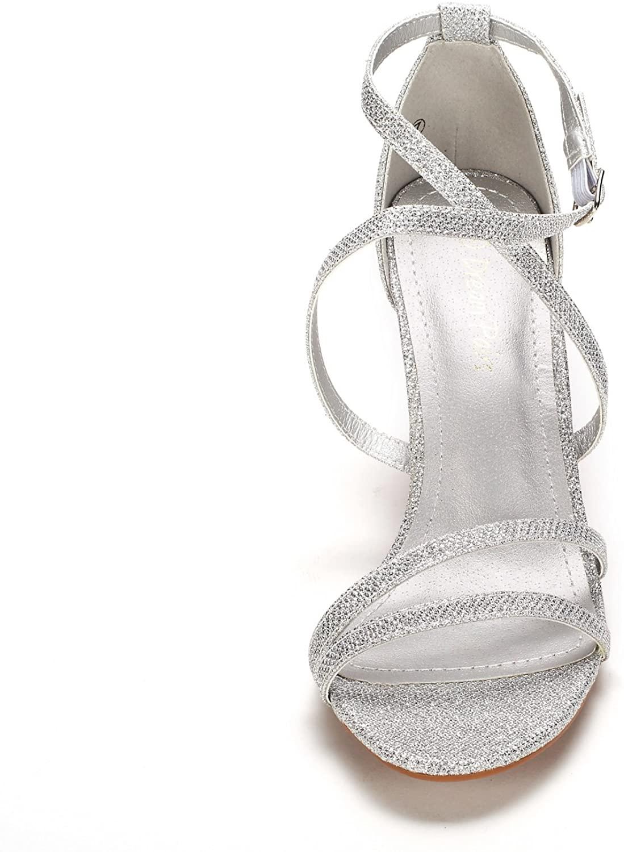 thumbnail 15 - Women's Open Toe Cross Strappy Sandals Heels Ankle Strap Wedding  Dress Shoes US