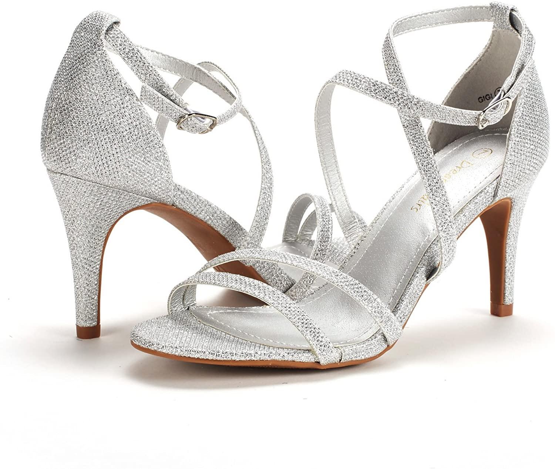 thumbnail 17 - Women's Open Toe Cross Strappy Sandals Heels Ankle Strap Wedding  Dress Shoes US