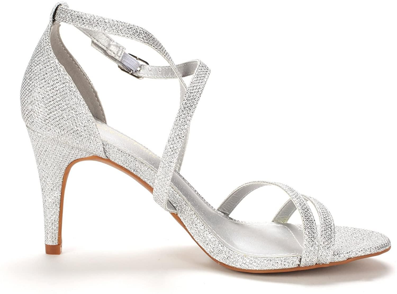 thumbnail 16 - Women's Open Toe Cross Strappy Sandals Heels Ankle Strap Wedding  Dress Shoes US