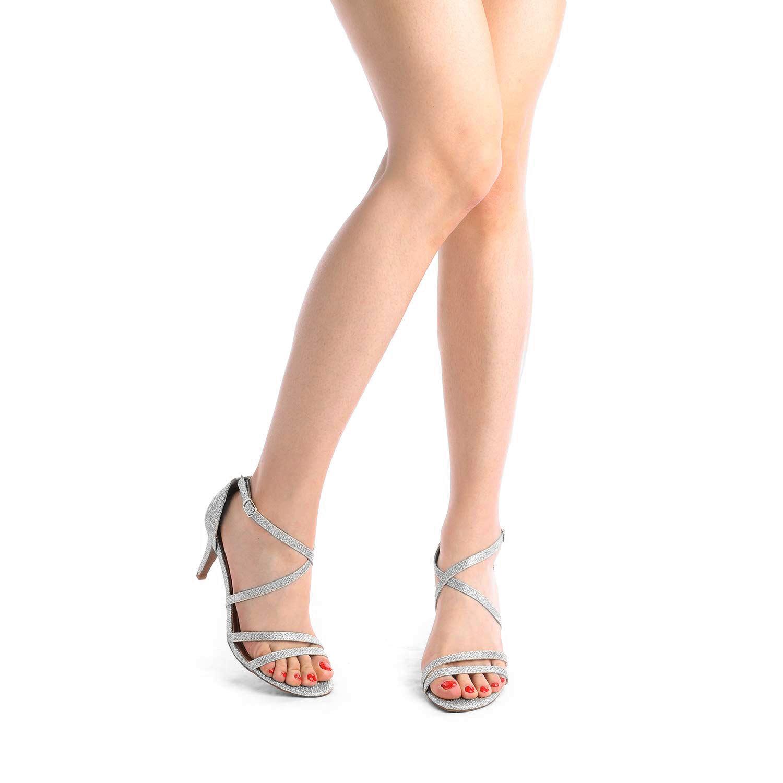 thumbnail 19 - Women's Open Toe Cross Strappy Sandals Heels Ankle Strap Wedding  Dress Shoes US
