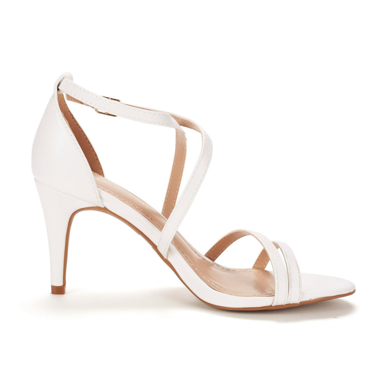 thumbnail 10 - Women's Open Toe Cross Strappy Sandals Heels Ankle Strap Wedding  Dress Shoes US