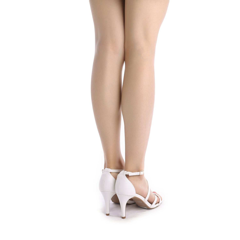 thumbnail 12 - Women's Open Toe Cross Strappy Sandals Heels Ankle Strap Wedding  Dress Shoes US