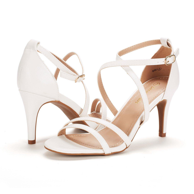 thumbnail 11 - Women's Open Toe Cross Strappy Sandals Heels Ankle Strap Wedding  Dress Shoes US