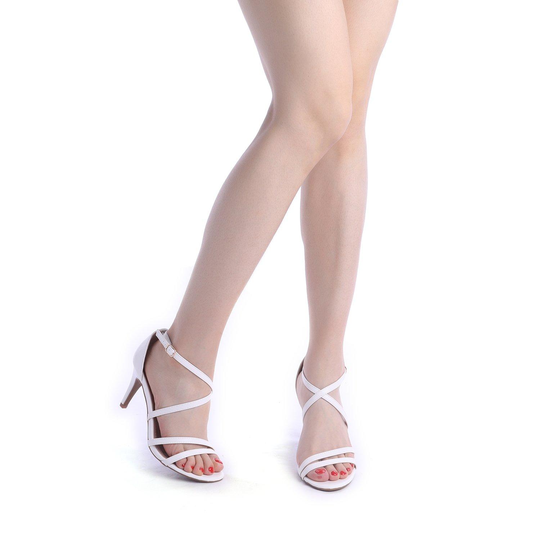 thumbnail 13 - Women's Open Toe Cross Strappy Sandals Heels Ankle Strap Wedding  Dress Shoes US
