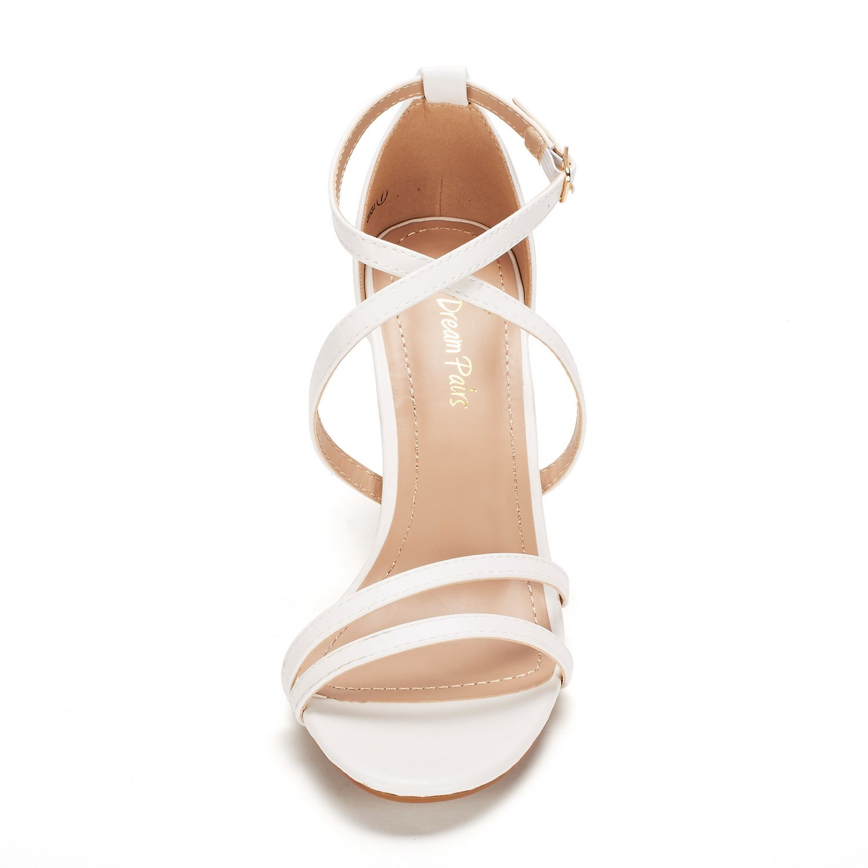 thumbnail 9 - Women's Open Toe Cross Strappy Sandals Heels Ankle Strap Wedding  Dress Shoes US