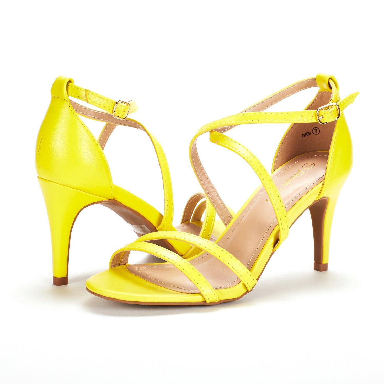 thumbnail 5 - Women's Open Toe Cross Strappy Sandals Heels Ankle Strap Wedding  Dress Shoes US