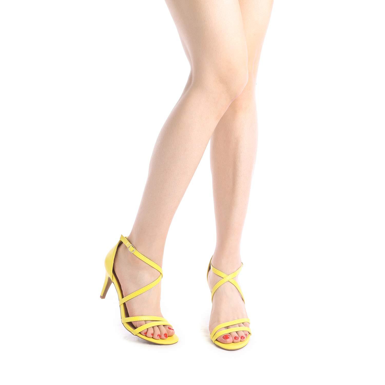 thumbnail 7 - Women's Open Toe Cross Strappy Sandals Heels Ankle Strap Wedding  Dress Shoes US