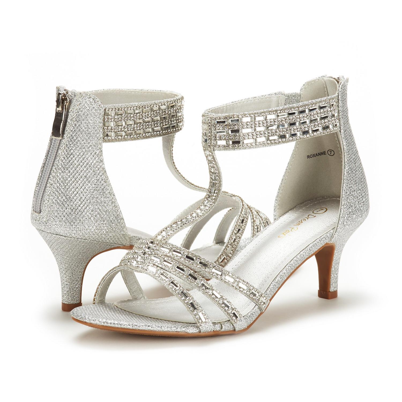 Details about DREAM PAIRS Women Roxanne Summer Open Toe Wedding Dress Pumps Low Heel Sandals