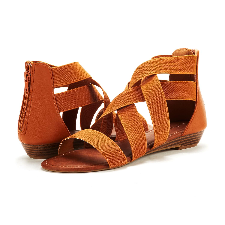 f500682a75f3 DREAM PAIRS Women Elastica8 Summer Fashion Design Ankle Low Wedges ...