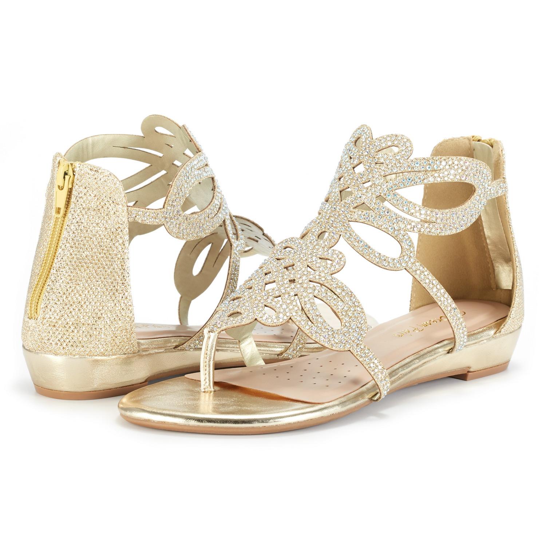 e421324e75d DREAM PAIRS Women Jewel New Low Heel Rhinestones Design Ankle Strap ...