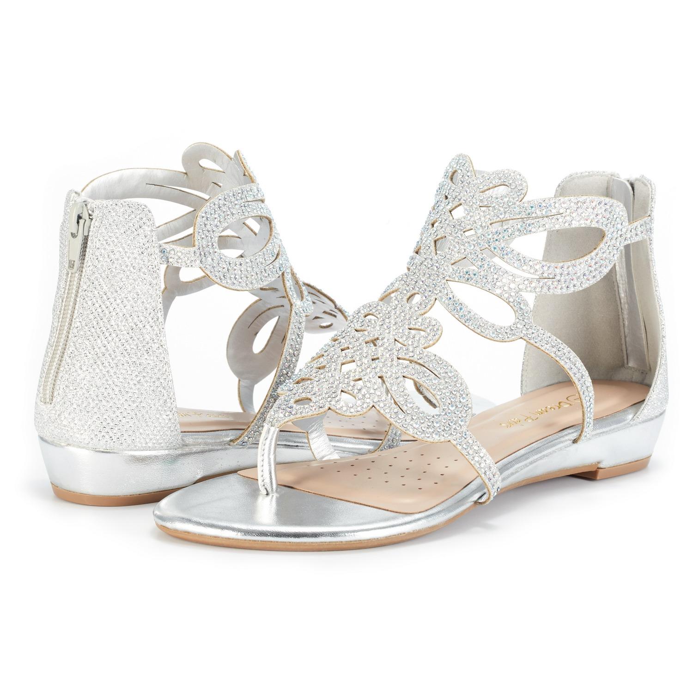 3b3ecedc738a1 DREAM PAIRS Women Jewel New Low Heel Rhinestones Design Ankle Strap ...