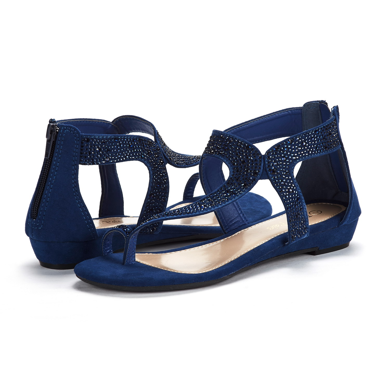 b206f8a8e29917 DREAM PAIRS Women Weitz Open-toe Ankle Strap Rhinestones Low Wedge ...