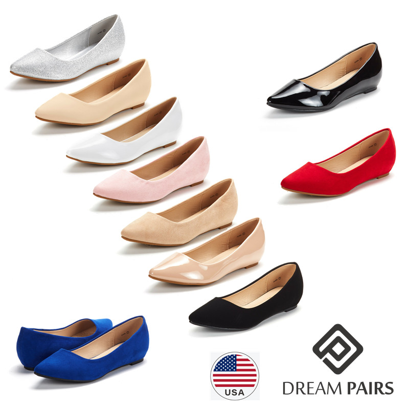 DREAM-PAIRS-Women-Low-Wedge-Flats-Ladies-Pointed-Toe-Slip-On-Comfort-Flat-Shoes