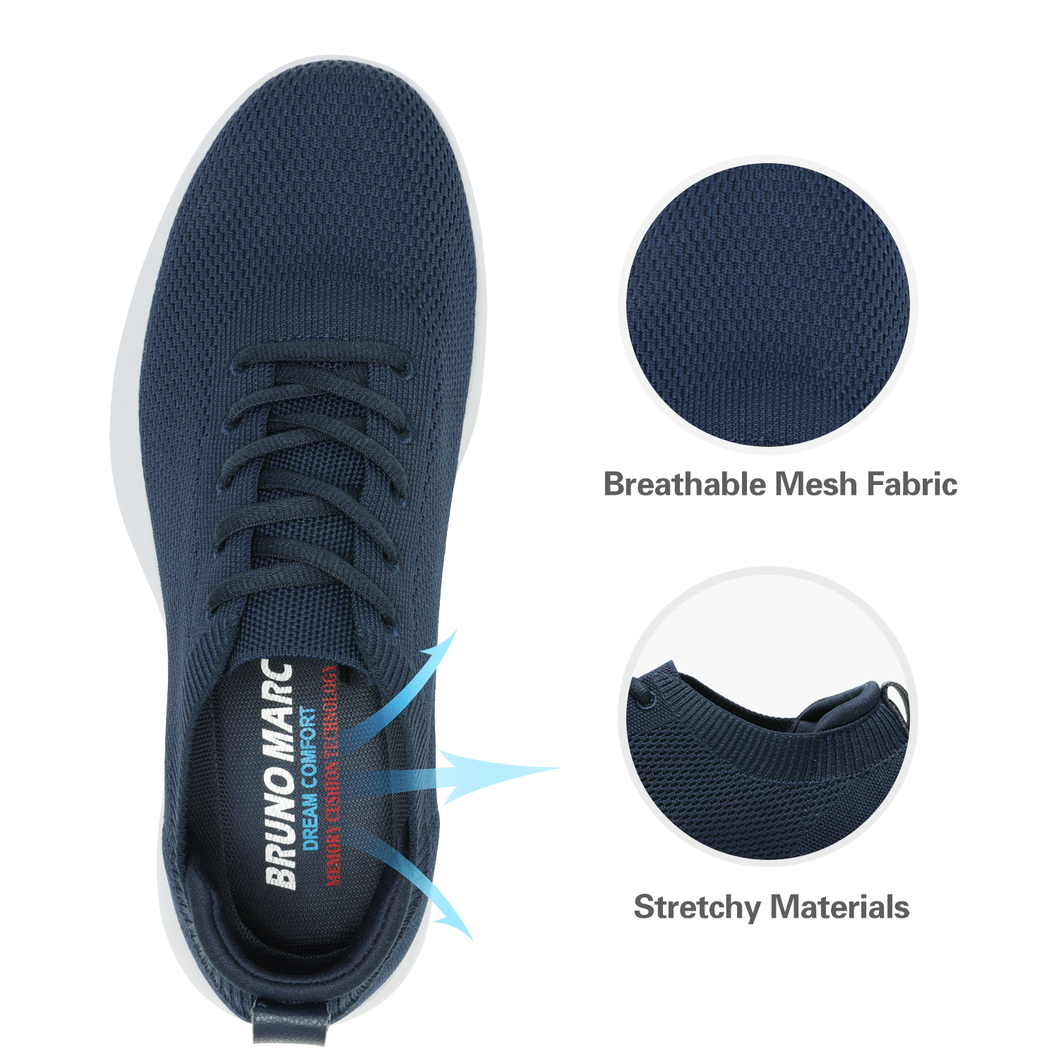 thumbnail 22 - Bruno Marc Mens Walking Shoes Breathable Fashion Sneaker Casual Shoe Size 6.5-13