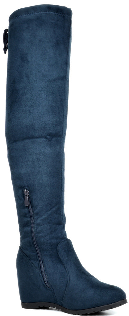 DREAM-PAIRS-Women-039-s-Over-The-Knee-Block-Heel-Suede-Thigh-High-Stretch-Boots