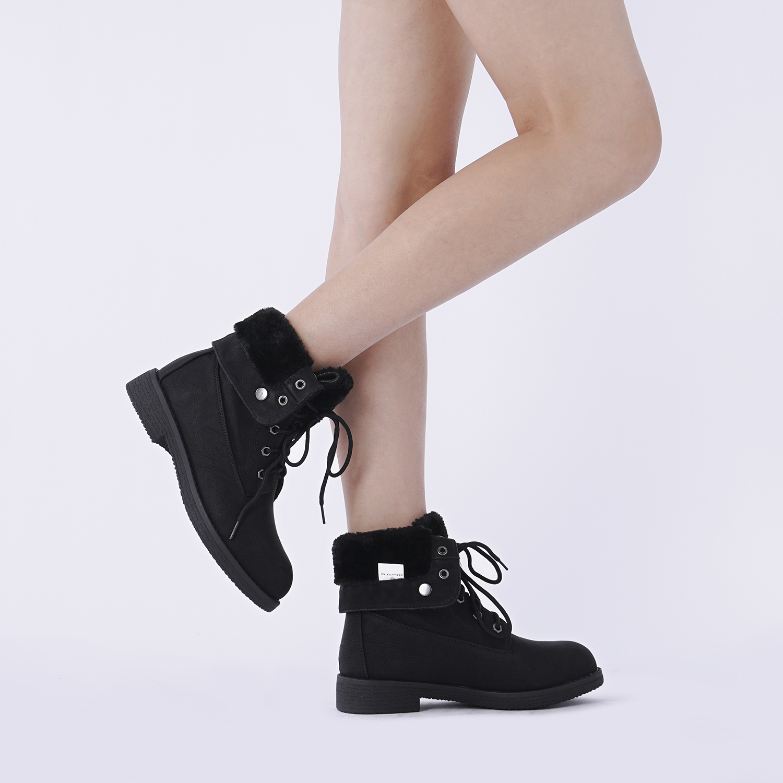 Women-Winter-Warm-Boots-Faux-Fur-Mid-Calf-Snow-Lace-Up-Fashion-Boots-Size-5-11 thumbnail 13