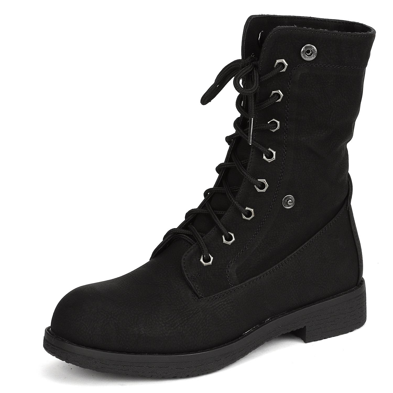 Women-Winter-Warm-Boots-Faux-Fur-Mid-Calf-Snow-Lace-Up-Fashion-Boots-Size-5-11 thumbnail 10