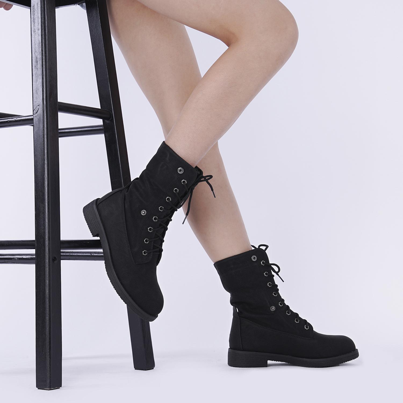 Women-Winter-Warm-Boots-Faux-Fur-Mid-Calf-Snow-Lace-Up-Fashion-Boots-Size-5-11 thumbnail 14