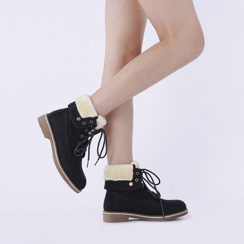 Women-Winter-Warm-Boots-Faux-Fur-Mid-Calf-Snow-Lace-Up-Fashion-Boots-Size-5-11 thumbnail 20