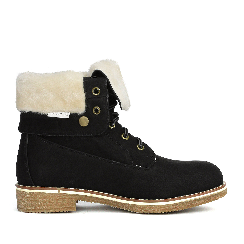 Women-Winter-Warm-Boots-Faux-Fur-Mid-Calf-Snow-Lace-Up-Fashion-Boots-Size-5-11 thumbnail 16