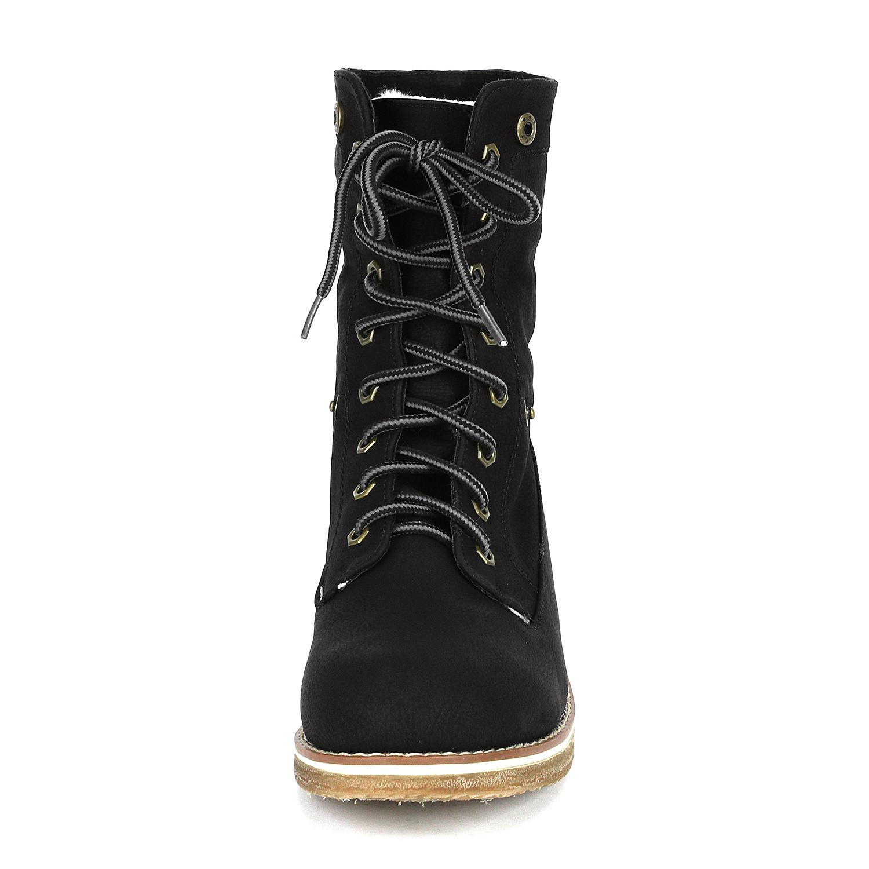 Women-Winter-Warm-Boots-Faux-Fur-Mid-Calf-Snow-Lace-Up-Fashion-Boots-Size-5-11 thumbnail 19