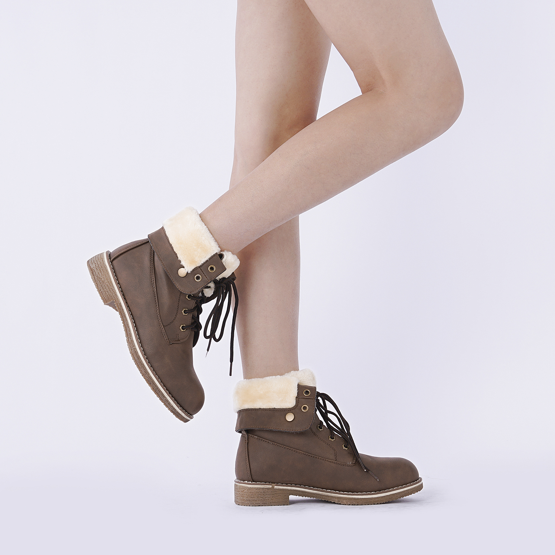 Women-Winter-Warm-Boots-Faux-Fur-Mid-Calf-Snow-Lace-Up-Fashion-Boots-Size-5-11 thumbnail 27