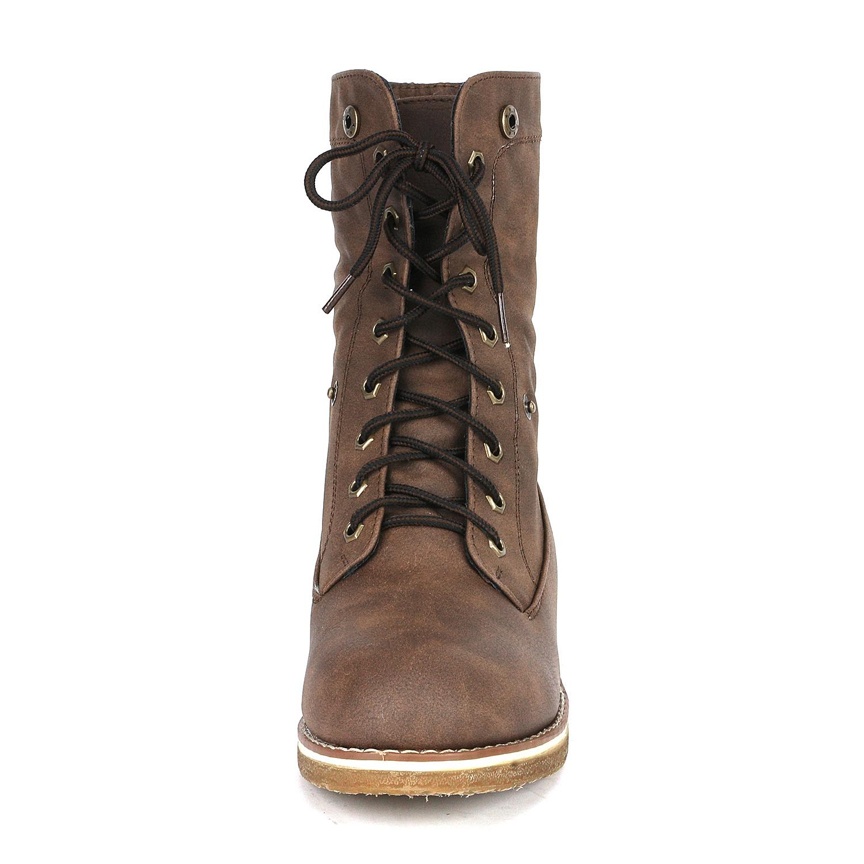 Women-Winter-Warm-Boots-Faux-Fur-Mid-Calf-Snow-Lace-Up-Fashion-Boots-Size-5-11 thumbnail 26