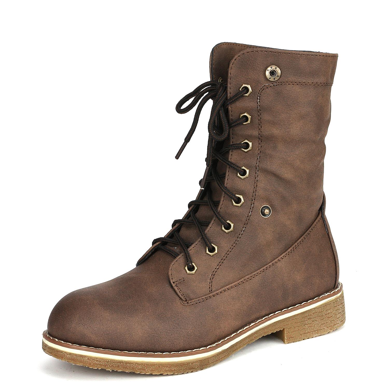 Women-Winter-Warm-Boots-Faux-Fur-Mid-Calf-Snow-Lace-Up-Fashion-Boots-Size-5-11 thumbnail 24
