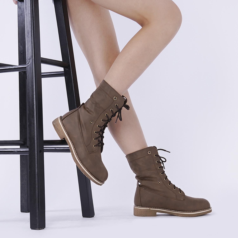 Women-Winter-Warm-Boots-Faux-Fur-Mid-Calf-Snow-Lace-Up-Fashion-Boots-Size-5-11 thumbnail 28