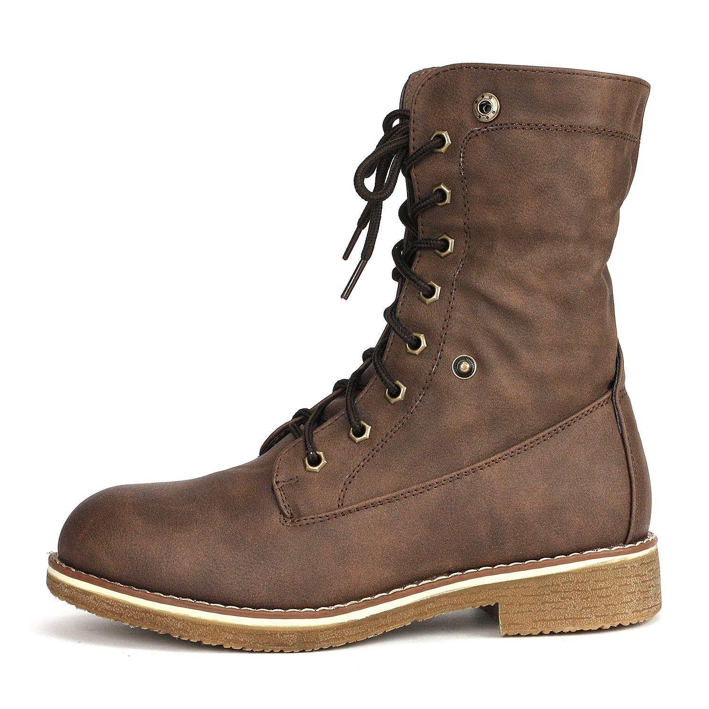 Women-Winter-Warm-Boots-Faux-Fur-Mid-Calf-Snow-Lace-Up-Fashion-Boots-Size-5-11 thumbnail 25