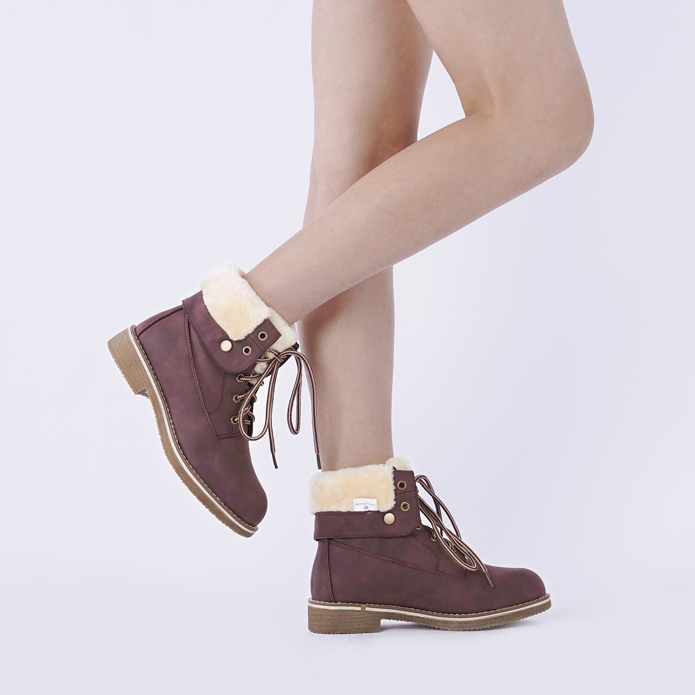 Women-Winter-Warm-Boots-Faux-Fur-Mid-Calf-Snow-Lace-Up-Fashion-Boots-Size-5-11 thumbnail 34
