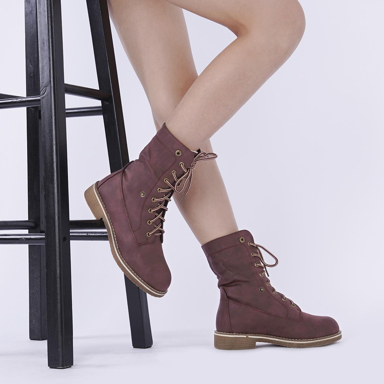 Women-Winter-Warm-Boots-Faux-Fur-Mid-Calf-Snow-Lace-Up-Fashion-Boots-Size-5-11 thumbnail 35