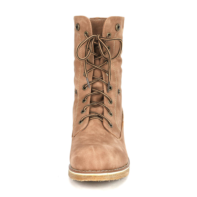 Women-Winter-Warm-Boots-Faux-Fur-Mid-Calf-Snow-Lace-Up-Fashion-Boots-Size-5-11 thumbnail 40