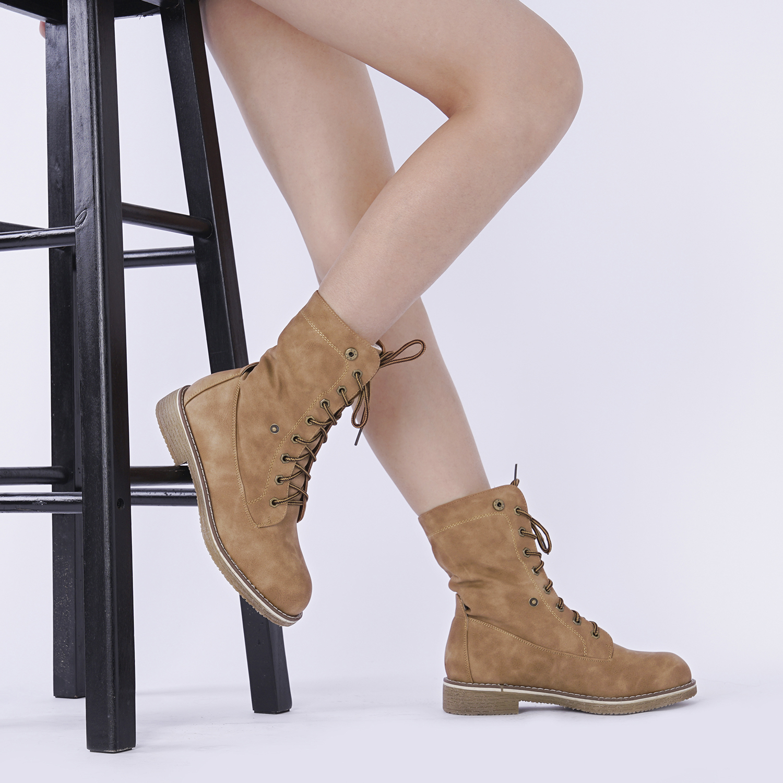 Women-Winter-Warm-Boots-Faux-Fur-Mid-Calf-Snow-Lace-Up-Fashion-Boots-Size-5-11 thumbnail 42