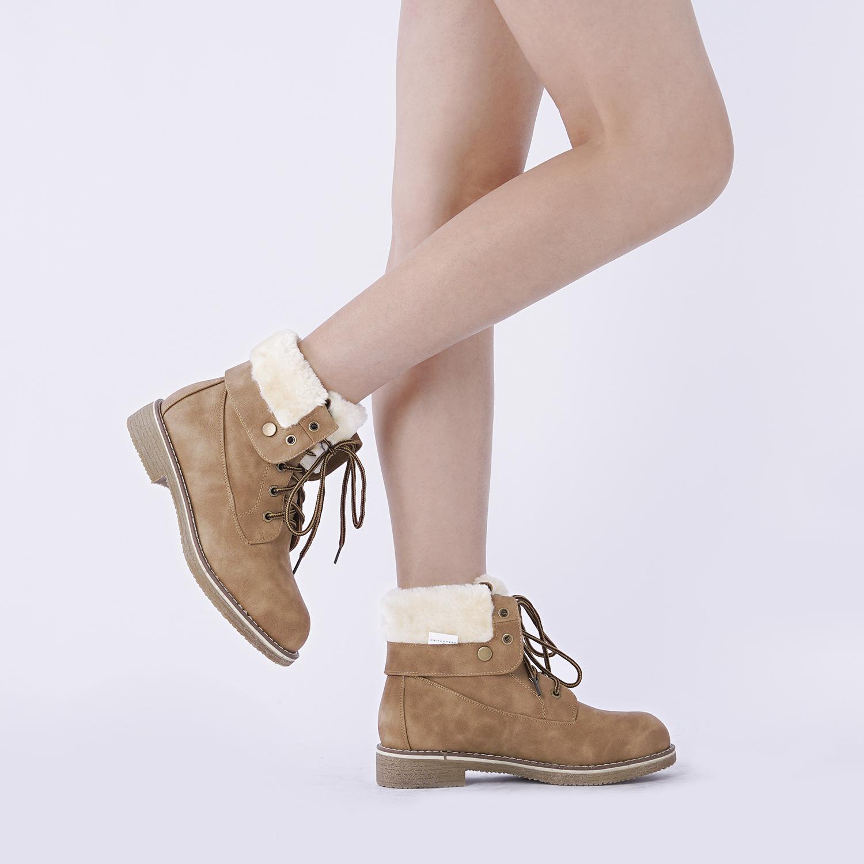 Women-Winter-Warm-Boots-Faux-Fur-Mid-Calf-Snow-Lace-Up-Fashion-Boots-Size-5-11 thumbnail 41