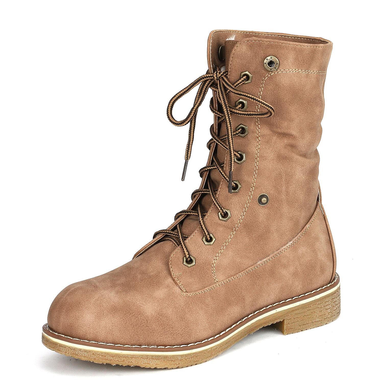 Women-Winter-Warm-Boots-Faux-Fur-Mid-Calf-Snow-Lace-Up-Fashion-Boots-Size-5-11 thumbnail 38